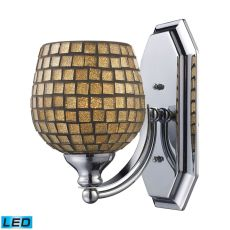 Bath And Spa 1 Light Led Vanity In Satin Nickel And Gold Leaf Glass