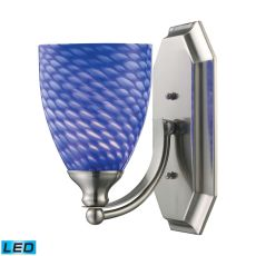 Bath And Spa 1 Light Led Vanity In Satin Nickel And Sapphire Glass