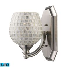 Bath And Spa 1 Light Led Vanity In Satin Nickel And Silver Glass