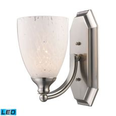Bath And Spa 1 Light Led Vanity In Satin Nickel And Snow White Glass