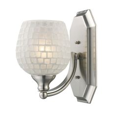 Bath And Spa 1 Light Vanity In Satin Nickel And White Glass