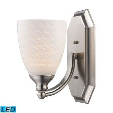 Bath And Spa 1 Light Led Vanity In Satin Nickel And White Swirl Glass