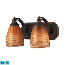 Bath And Spa 2 Light Led Vanity In Aged Bronze And Cocoa Glass