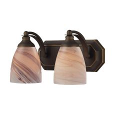 Bath And Spa 2 Light Vanity In Aged Bronze And Creme Glass