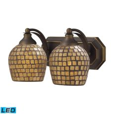 Bath And Spa 2 Light Led Vanity In Aged Bronze And Gold Leaf Glass