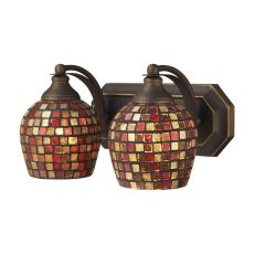 Bath And Spa 2 Light Vanity In Aged Bronze And Multi Fusion Glass
