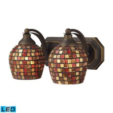 Bath And Spa 2 Light Led Vanity In Aged Bronze And Multi Fusion Glass