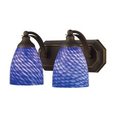 Bath And Spa 2 Light Vanity In Aged Bronze And Sapphire Glass