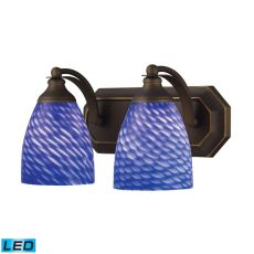 Bath And Spa 2 Light Led Vanity In Aged Bronze And Sapphire Glass
