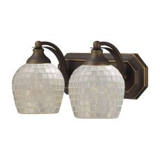 Bath And Spa 2 Light Vanity In Aged Bronze And Silver Glass