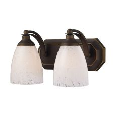 Bath And Spa 2 Light Vanity In Aged Bronze And Snow White Glass