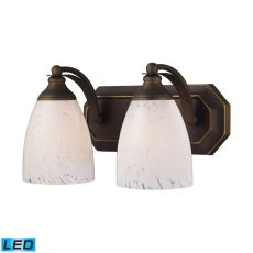 Bath And Spa 2 Light Led Vanity In Aged Bronze And Snow White Glass