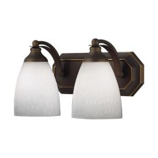 Bath And Spa 2 Light Vanity In Aged Bronze And Simple White Glass