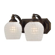 Bath And Spa 2 Light Vanity In Aged Bronze And White Glass