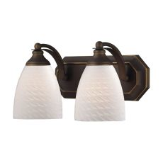 Bath And Spa 2 Light Vanity In Aged Bronze And White Swirl Glass
