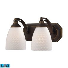 Bath And Spa 2 Light Led Vanity In Aged Bronze And White Swirl Glass
