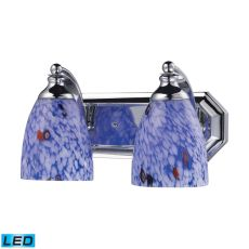 Bath And Spa 2 Light Led Vanity In Polished Chrome And Starburst Blue Glass