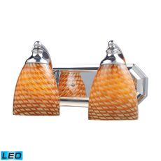 Bath And Spa 2 Light Led Vanity In Polished Chrome And Cocoa Glass