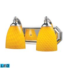 Bath And Spa 2 Light Led Vanity In Polished Chrome And Canary Glass