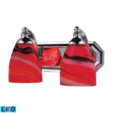 Bath And Spa 2 Light Led Vanity In Polished Chrome And Candy Glass