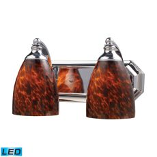 Bath And Spa 2 Light Led Vanity In Polished Chrome And Espresso Glass