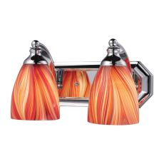 Bath And Spa 2 Light Vanity In Polished Chrome And Multi Glass