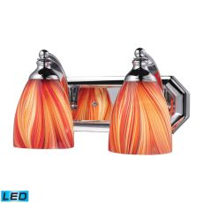 Bath And Spa 2 Light Led Vanity In Polished Chrome And Multi Glass