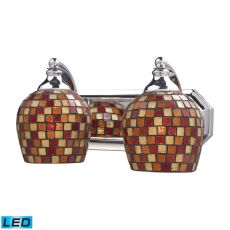 Bath And Spa 2 Light Led Vanity In Polished Chrome And Multi Fusion Glass