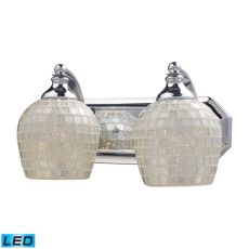 Bath And Spa 2 Light Led Vanity In Polished Chrome And Silver Glass