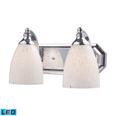 Bath And Spa 2 Light Led Vanity In Polished Chrome And Snow White Glass
