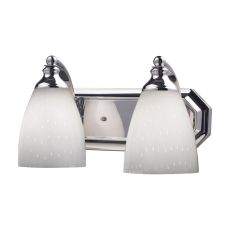 Bath And Spa 2 Light Vanity In Polished Chrome And Simple White Glass