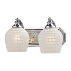 Bath And Spa 2 Light Vanity In Polished Chrome And White Glass
