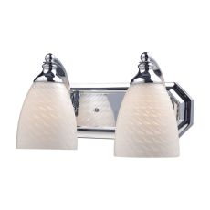 Bath And Spa 2 Light Vanity In Polished Chrome And White Swirl Glass