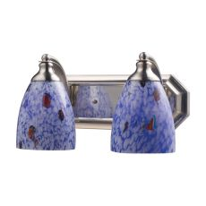 Bath And Spa 2 Light Vanity In Satin Nickel And Starburst Blue Glass