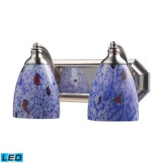 Bath And Spa 2 Light Led Vanity In Satin Nickel And Starburst Blue Glass