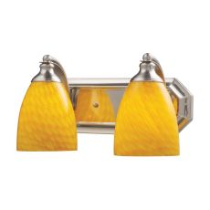 Bath And Spa 2 Light Vanity In Satin Nickel And Canary Glass