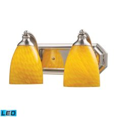 Bath And Spa 2 Light Led Vanity In Satin Nickel And Canary Glass