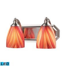 Bath And Spa 2 Light Led Vanity In Satin Nickel And Multi Glass