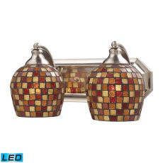 Bath And Spa 2 Light Led Vanity In Satin Nickel And Multi Fusion Glass