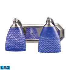 Bath And Spa 2 Light Led Vanity In Satin Nickel And Sapphire Glass