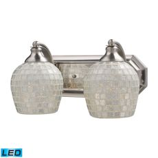 Bath And Spa 2 Light Led Vanity In Satin Nickel And Silver Glass