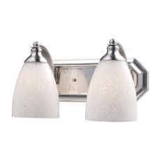 Bath And Spa 2 Light Vanity In Satin Nickel And Snow White Glass