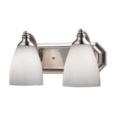 Bath And Spa 2 Light Vanity In Satin Nickel And Simple White Glass