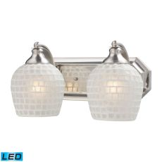 Bath And Spa 2 Light Led Vanity In Satin Nickel And White Glass