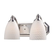 Bath And Spa 2 Light Vanity In Satin Nickel And White Swirl Glass