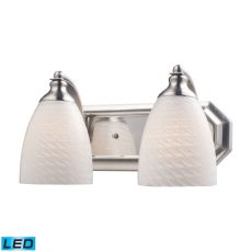 Bath And Spa 2 Light Led Vanity In Satin Nickel And White Swirl Glass