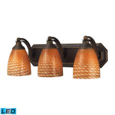 Bath And Spa 3 Light Led Vanity In Aged Bronze And Cocoa Glass