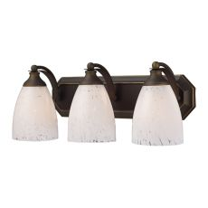 Bath And Spa 3 Light Vanity In Aged Bronze And Snow White Glass