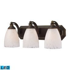 Bath And Spa 3 Light Led Vanity In Aged Bronze And Snow White Glass
