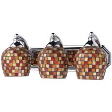 Bath And Spa 3 Light Vanity In Polished Chrome And Multi Fusion Glass